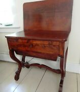 Antique Late 19th C. English Mahogany Lift-top Side Table/sewing Table..