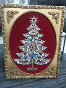 Framed Christmas Tree Made Of Vintage Jewelry 21 X 27. 5 Beautifully Detailed