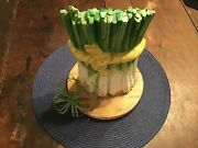 Cast Iron Doorstop Bundle Of Onions Green And White Vintage Dept. 56