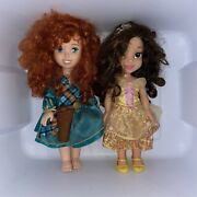 """2 Disney 14"""" Princess Toddler Dolls Merida And Belle Brave And Beauty And The Beast"""