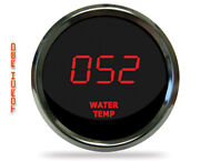 Intellitronix Ms9113r Led Digital Water Temp Gauge 2 1/16 50 To 350 Chrome Red
