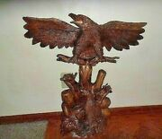 Vintage American Hand Carved Wood Eagle By Blue Ribbon Carver C.smith Corkey