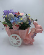 Vintage Easter Bunny Rabbit Pulling Wagon Cart Blow Mold Planter - Soft Pink