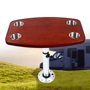 Boat Tableremovable Rectangular Marine/rv Table W/ 4 Cup Holders And Pedestal Bas