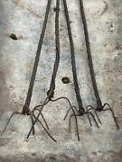 4 Antique Hot Dog Fire Barbecue Sticks Iron Wood Rustic Meat Skewers Cabin Big