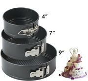 4 7 9 Non-stick Springform Cake Pan Set Leakproof Round W/quick Release Clips