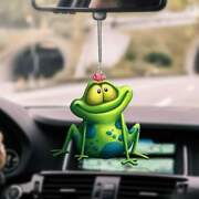 Frog Looking At A Butterfly On Head Car Hanging Ornament