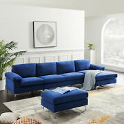 Contemporary Sectional Modern Sofa Bed - Navy Blue