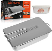 """Stovetop Smoker-7 X 11 X 3.5"""" Stainless Steel Smoking Box With Wood Chip Sample"""