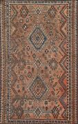 Antique Abadeh Geometric Tribal Area Rug Evenly Low Pile Hand-knotted 5x7 Carpet