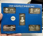Hamilton Mint Our Greatest Americans Group Ii Set Of 5 - 1oz Fine Silver Bars