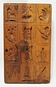 Early Antique Wooden 12 Pattern Springerle Cookie Mold Animals Guitar Church