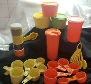 Tupperware 1970s Spice Servalier Canisters Cups Spoons Lot Vtg Retro Usa