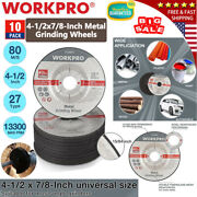 Workpro 10pack Metal Grinding Wheels Type 27 4-1/2 X 7/8-inch For Angle Grinders