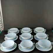 Lot Of 18 Wedgwood Queensware 2-handled Plus Soup Bowl And Saucer.