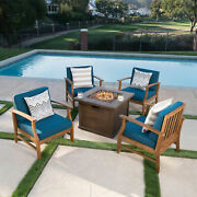 Lilith Outdoor 4 Seat Teak Finished Acacia Wood Club Chairs Fire Pit Chat Set
