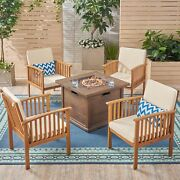 Carol Outdoor 4-seater Acacia Wood Club Chairs With Fire Pit