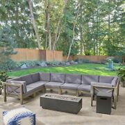 Muriel Outdoor Sectional Sofa Set With Fire Pit 10-piece 8-seater Acacia Wood Wa