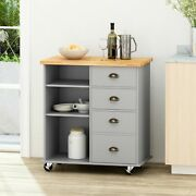 Yohaan Contemporary Kitchen Cart With Wheels