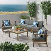 Lorelei Outdoor 7 Piece Acacia Wood 4-seater Sofa And Club Chairs Set