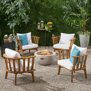 Trent Outdoor Acacia Wood 4 Seater Club Chairs And Fire Pit Set