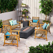 Allison Outdoor 6 Piece Wood And Wicker Chat Set With Fire Pit