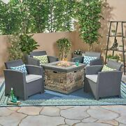 Casey Outdoor 4-seater Wicker Print Club Chair Chat Set With Fire Pit