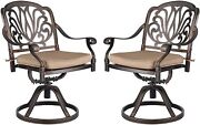 Patio Chair Set Of 2 With Cushion Swivel Dining Chairs Garden Outdoor Furniture