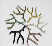 25/100pcs Retro Style Antler Diy Jewelry Making Alloy Charms Pendant 52x40mm