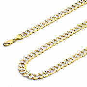 Wellingsale 14k Yellow Gold Solid 8mm Cuban Pave Chain Necklace