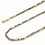 Wellingsale 14k Two Tone Gold Solid 4mm Figarope Chain Necklace