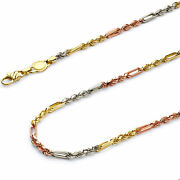 Wellingsale 14k Tri Color Gold Solid 4mm Figarope Chain Necklace