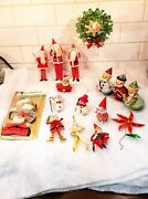 Vintage Christmas Ornaments 17 Pieces - Pipe Cleaner Japan Clay Face Mica