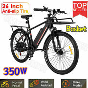26''electric Mountain Bike 350w Road Touring Bicycle With Basket Max Speed 20mph