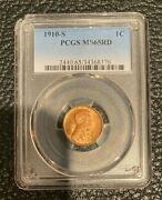 1910-s Lincoln Wheat Cent 1c Pcgs Ms65 Rd 8/19