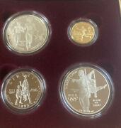 1995 Us Olympic Coins 4 Coin Proof Set Silver And Gold