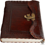 Vintage Handmade Leather Bound Journal With Lock Genuine Brown Antique Old Diary