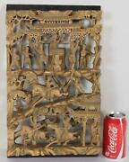 Chinese Deep Carved 3d Gilt Wood Panel Court And Horseback Riders Antique