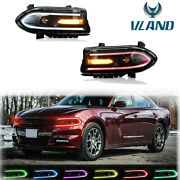 2xled Projector Headlights Rgb Color Change Lamps For 15-20 Dodge Charger Srt Gt