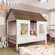 Twin Size Low Loft Wood House Bed With Two Front Windows Roof For Kids Teens