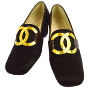 35 1/2 Jumbo Cc Loafers Shoes Dark Brown Fur Authentic Gs01296i