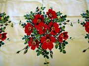 Vintage Tablecloth - Wilendur Red Pansy Flowers 47 54 Granny Decor Cottage