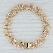 Triple Link Cable Chain Bracelet 14k Yellow Gold 7 11.2mm Starter Charm