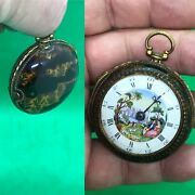 Antique 18th C Enamel Gilt Solid Silver Painted Faux Tortoise Shell Pocket Watch