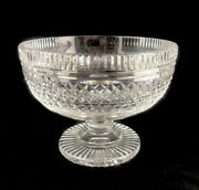 Waterford Crystal Ireland Clear Glass Castletown 7-3/8 Compote Footed Bowl U13