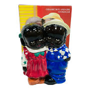 Vintage Rare Jay Imports African American Girl And Boy Cookie Jar Original Box