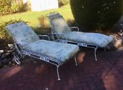 Pair 60-70andrsquos Vintage Russell Woodard Salterini Wrought Iron Chaise Lounge Patio