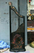 147cm Old Chinese Wood Lacquerware Painting Palace Double Dragon Word Jean Qin