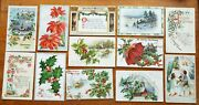 12 Old Antique Tuck Christmas Postcards Angels Holly Church