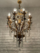 Antique Vintage 8 Arms Brass And Crystals Flower Design Unqiue Chandelier Lamp